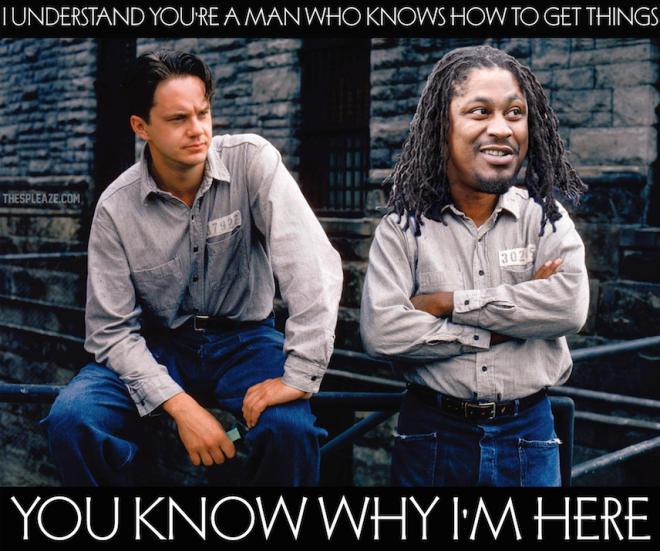 Marshawn Lynch, Shawshank Redemption meme.